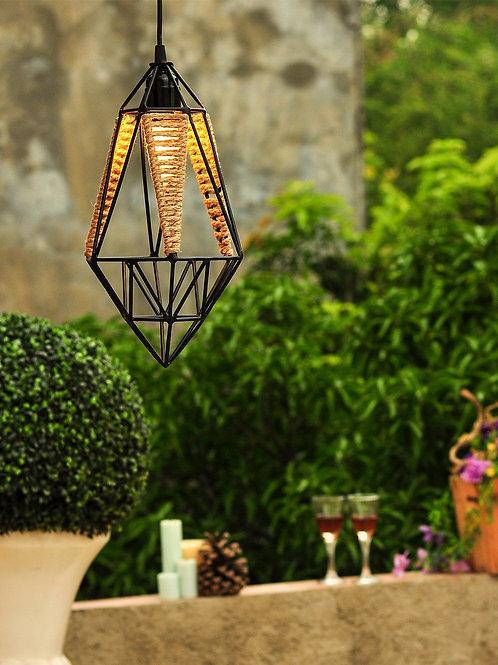 Gem Stone Metal Jute Pendant Lamp
