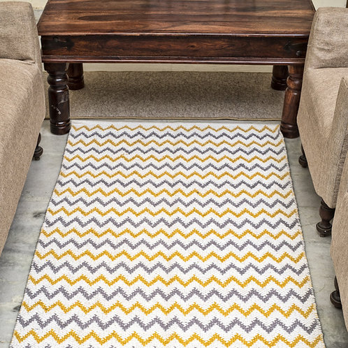 Grey and yellow wavy cotton durrie