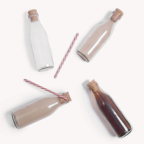 Glass bottles with cork