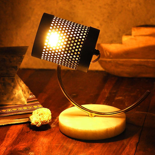 Perforated Dome Metal Marble Table Lamp