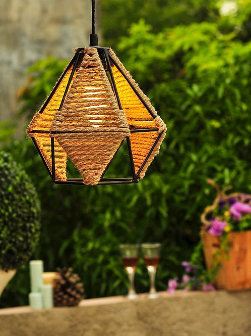 Diamond Metal Jute Pendant Lamp