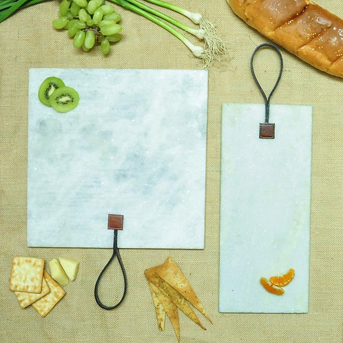 Rectangle and square leather tag platters