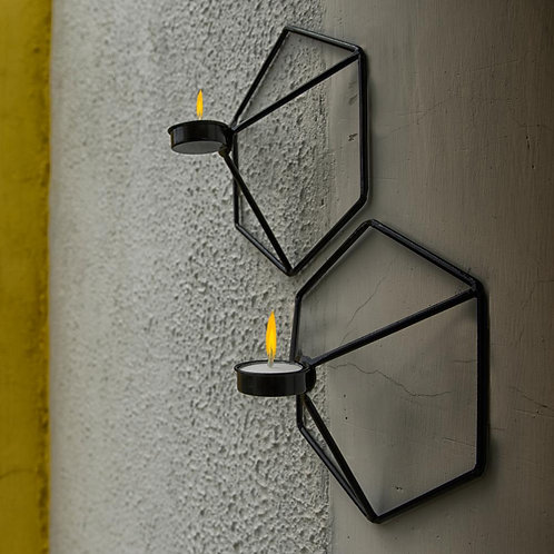 Wall mounted Hexagon tealight holder     Two same size