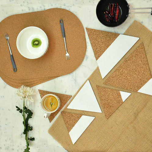 Cork table mat with trivets and coasters
