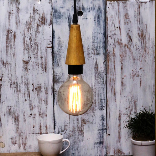 Wooden filament cone pendant lamp