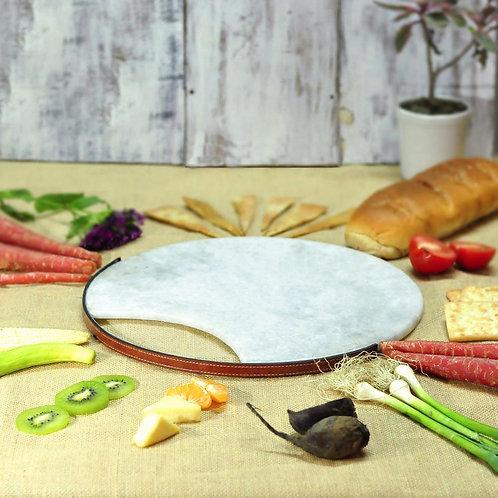 Round leather platter