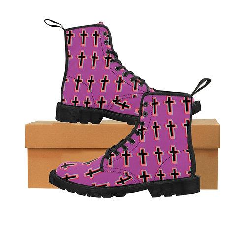 Cool Pink Cross Women's Canvas Boots