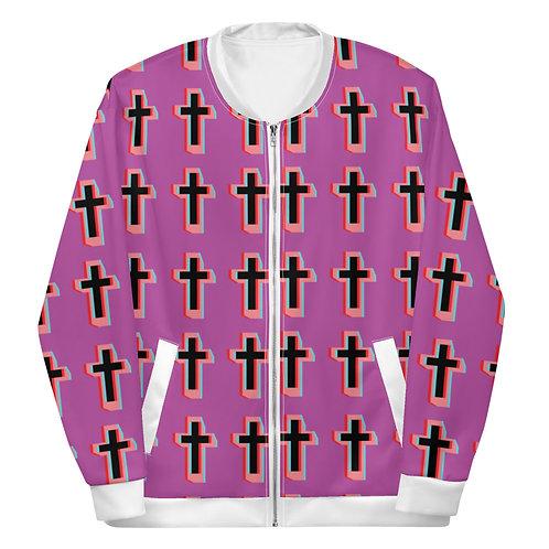 Cool Pink Cross Bomber Jacket