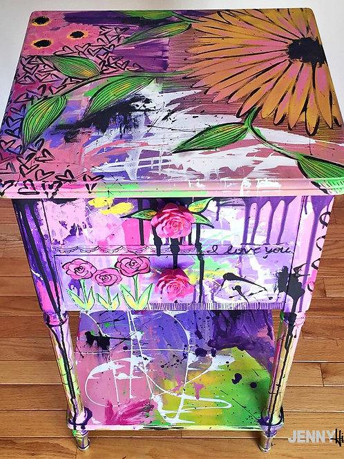 Nightstand -Rose Graffiti