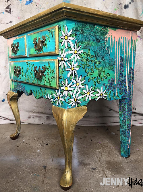 Nightstand-Green Floral