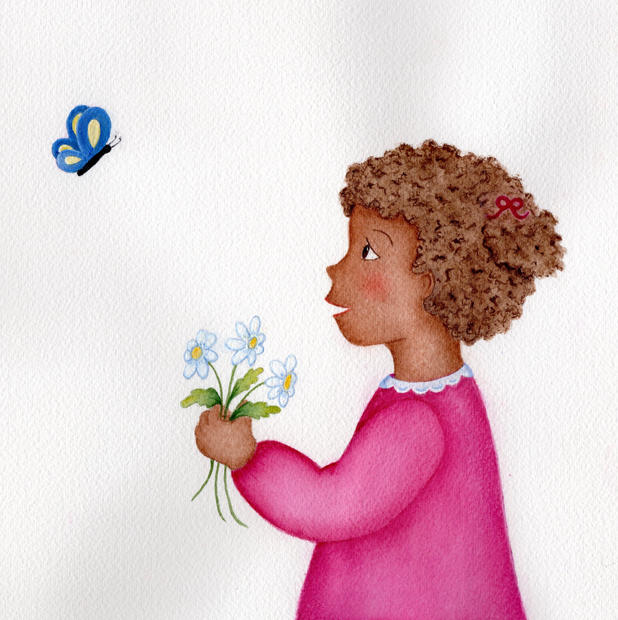 Girl with Blue Butterfly