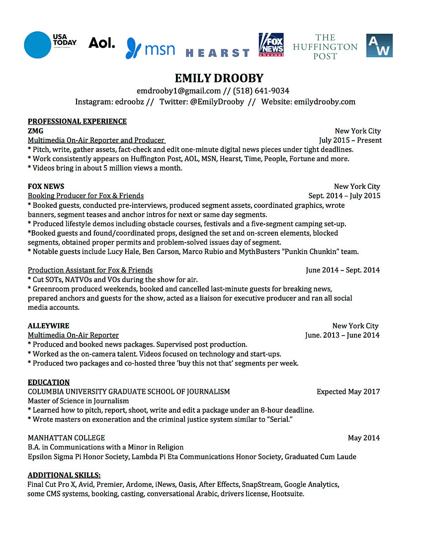 emily drooby resume reporting resume here