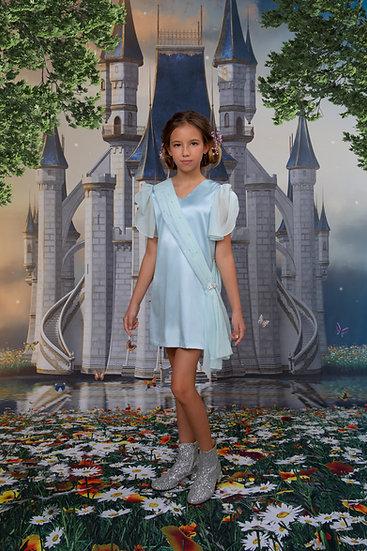 SKY BLUE DRESS WITH A FESTIVE SASH