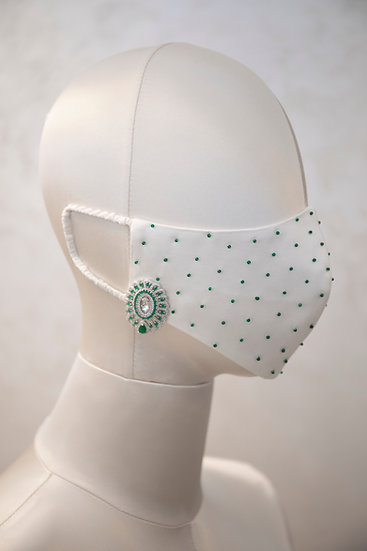 SEA GREEN EMERALD GEMSTONE FACE COVERING / COUTURE MASK