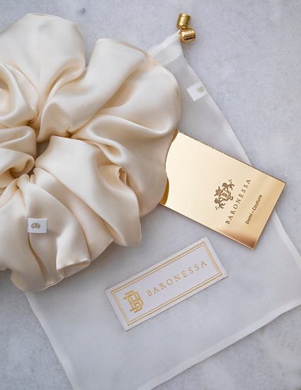 LIGHT YELLOW DOUBLE SILK SATIN HAIR TIE BY BARONESSA