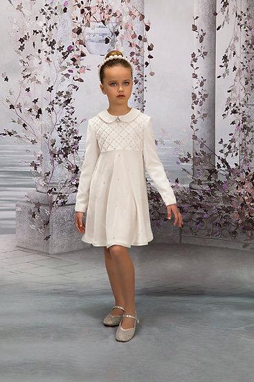 WHITE SILK VELVET DRESS