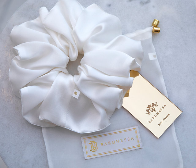 WHITE DOUBLE SILK SATIN HAIR TIE BY BARONESSA