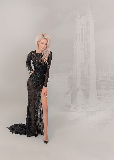 SEQUIN TASSEL EVENING DRESS