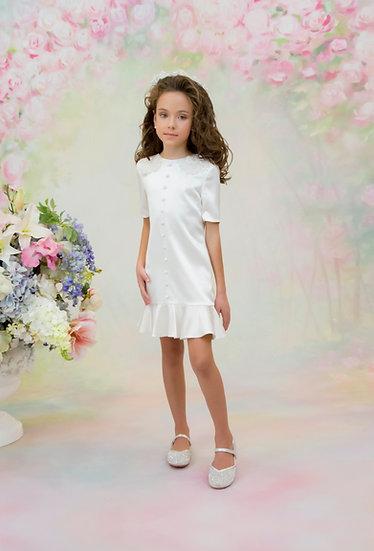 WHITE MINI DRESS WITH A VOLANT