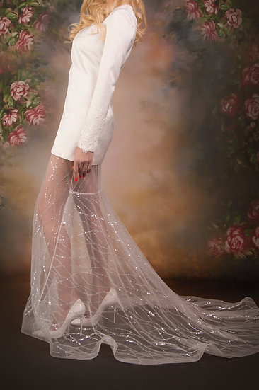 LONG TULLE SKIRT EMBROIDERED WITH SEQUINS