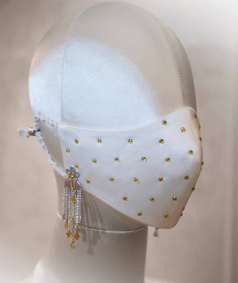 HONEY CRYSTAL-STUDDED FACE COVERING / COUTURE MASK