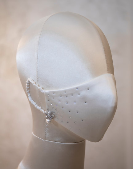 WHITE ZIRCON AND SWAROVSKI CRYSTAL-STUDDED FACE COVERING / COUTURE MASK