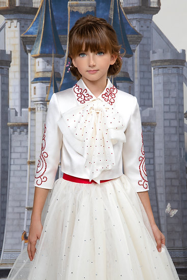 WHITE BLOUSE WITH SWAROVSKI CRYSTAL-STUDDED BOW