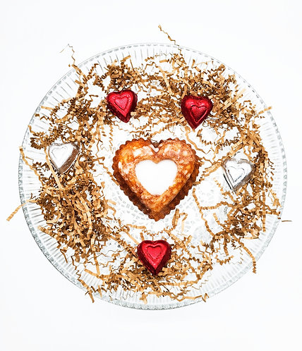 Heart-Shaped Bundt Cake and Chocolates