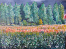 Summer Poplars and Maize 80 by 60cms