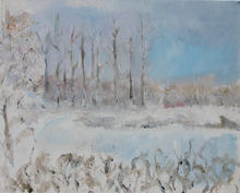 Debs' winter landscape acrylic on canvas 2010  (70 by 50cms)
