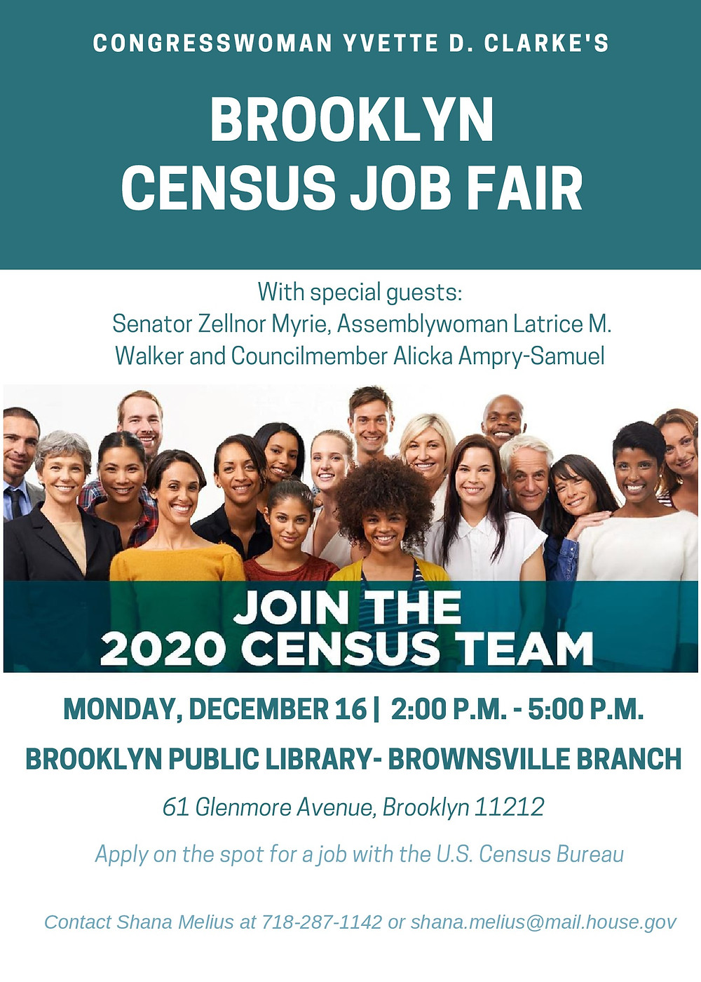 Brooklyn 2020 Census Job Fair 2019 Yvette Clarke Zellnor Myrie Latrice Walker Alicka Ampry Samuel Brownsville