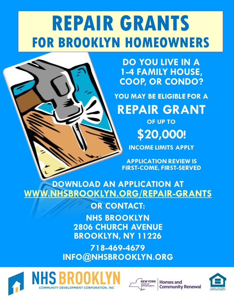 AHC home repair grant through NHS for Brooklyn homeowners