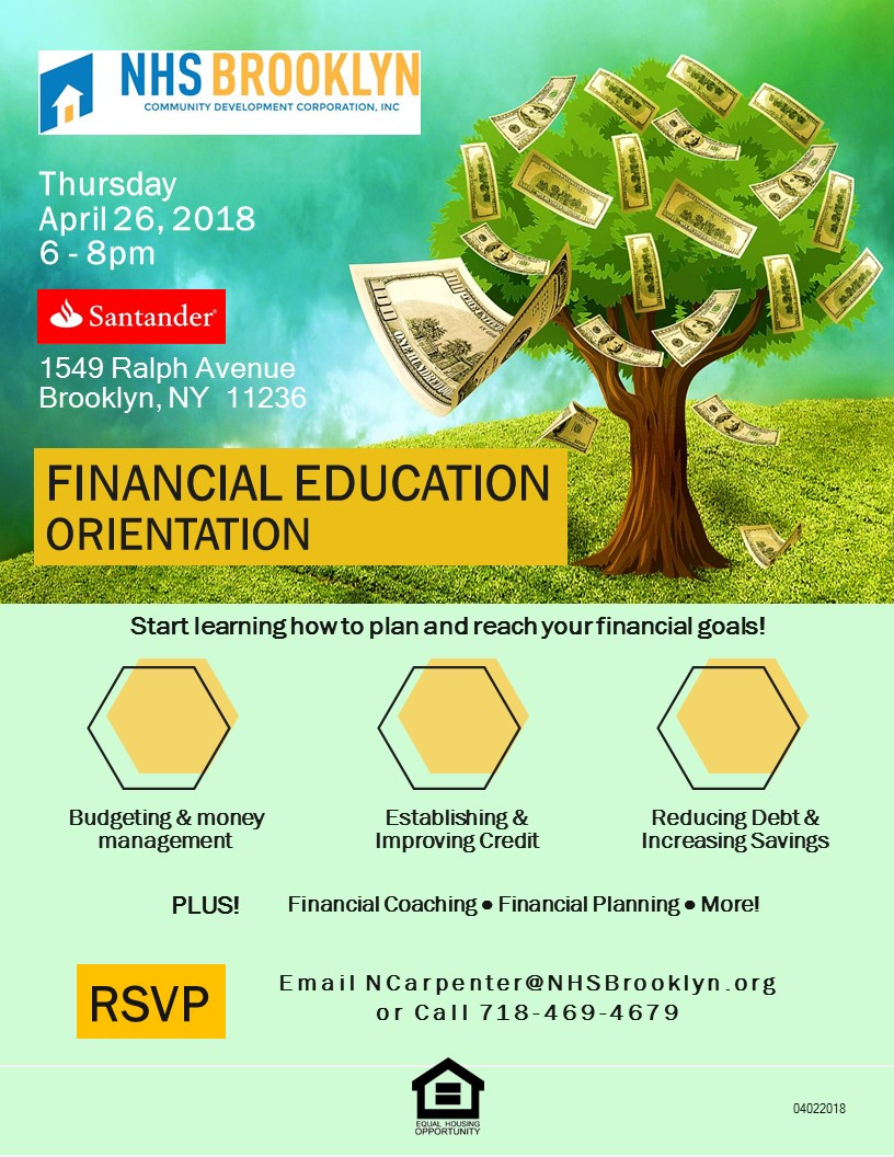 financial fitness education coaching NHS Brooklyn Santander Bank Canarsie 2018