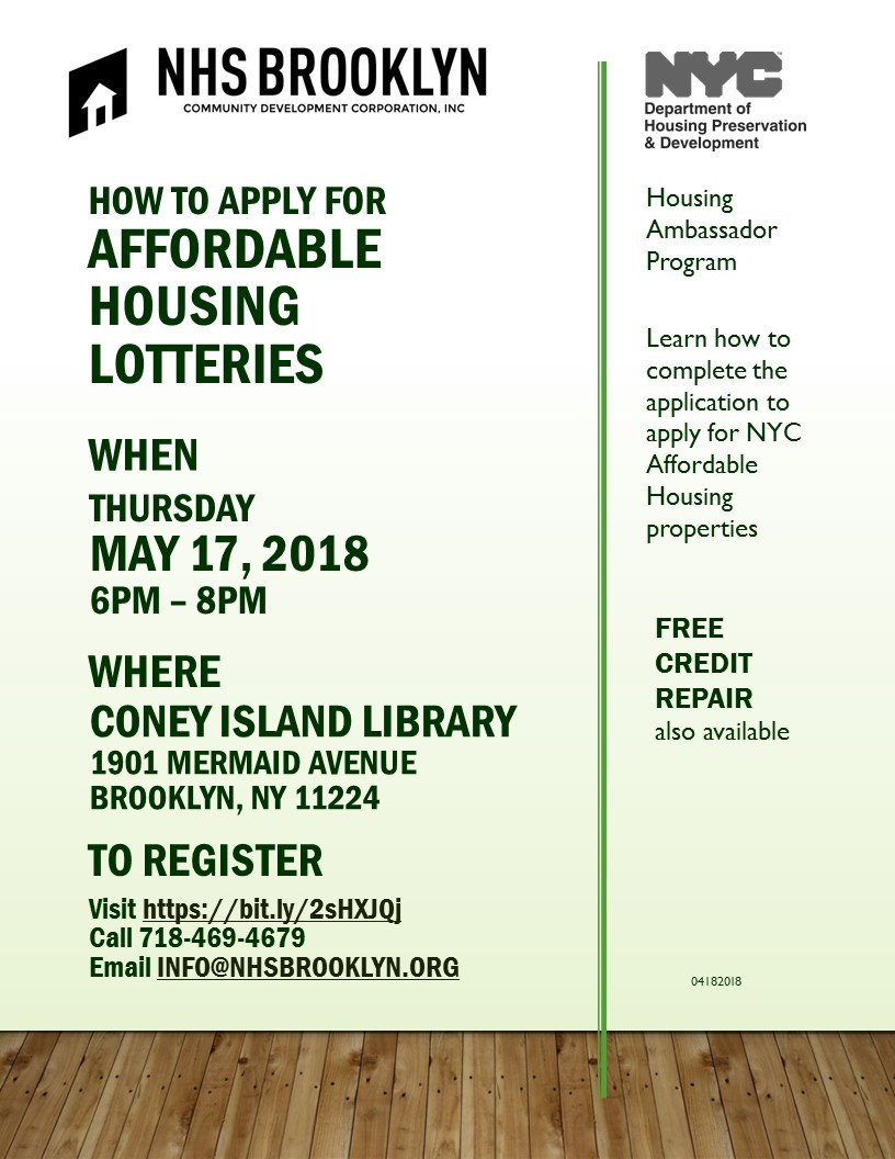 Affordable Housing Lotteries Seminar at Coney Island Library May 17 2018 Free