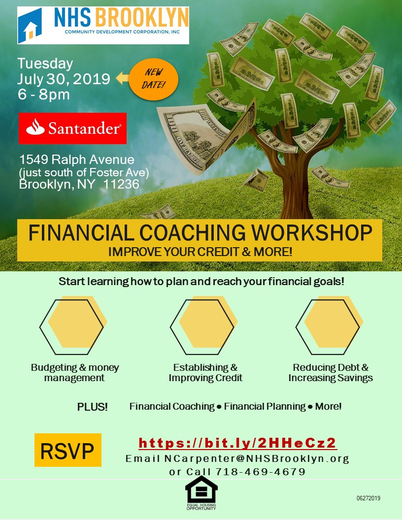 financial education coaching workshop nhs brooklyn nyc canarsie santander 2019
