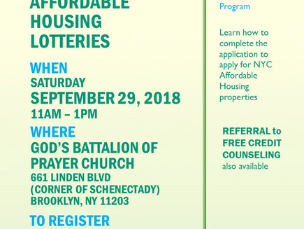 Applying for Affordable Housing Lotteries Seminar Sat 9/29
