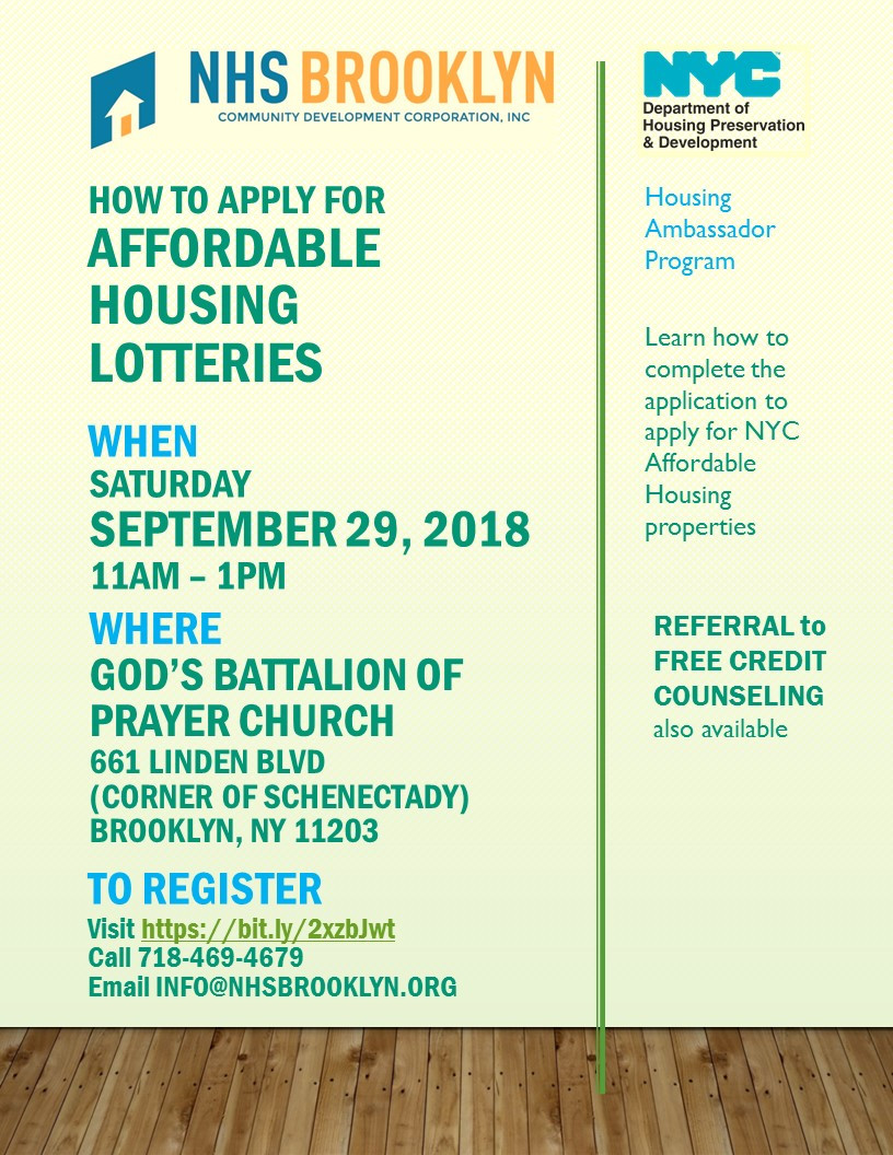 Seminar How to Apply for Affordable Housing Lotteries event NHS Brooklyn Housing Resource Fair October 2018