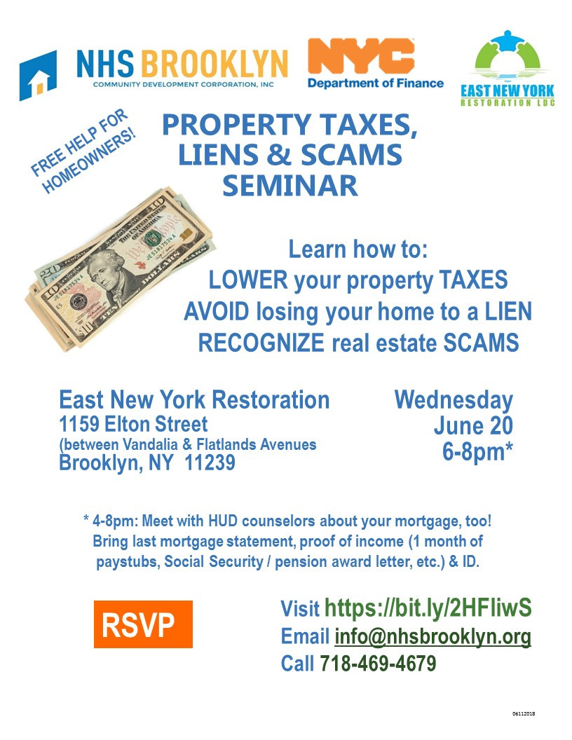 NHS Brooklyn Property Tax Liens Scams Event East New York June 2018