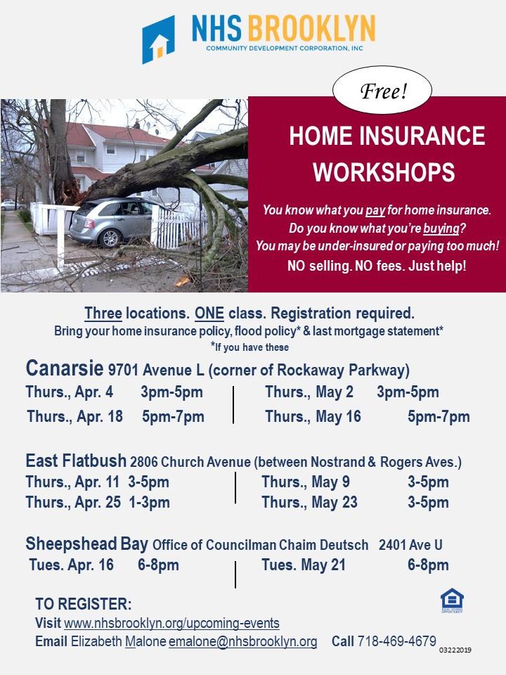 Free home flood insurance workshop counseling Beth Elizabeth Malone NHS Brooklyn Deutsch Canarsie Sheepshead Bay East Flatbush 2019