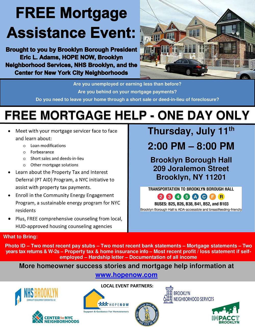 free mortgage assistance event borough hall nhs brooklyn nyc 2019