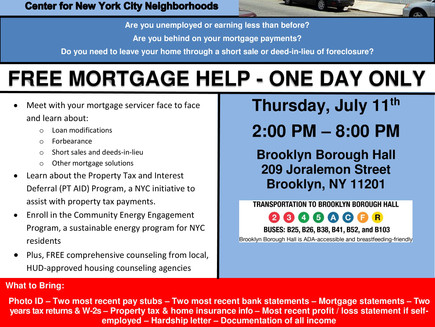 Mortgage Help Event - One Day Only (7.11.2019 - Borough Hall - Free)