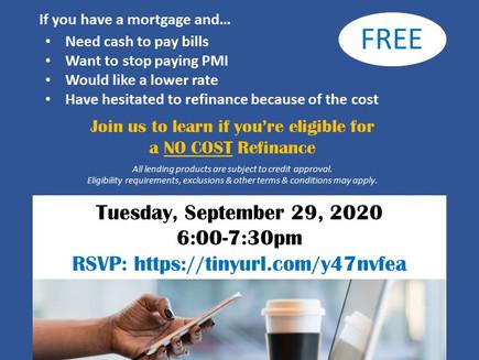 New No-Cost Refinance Program (9/29 webinar)