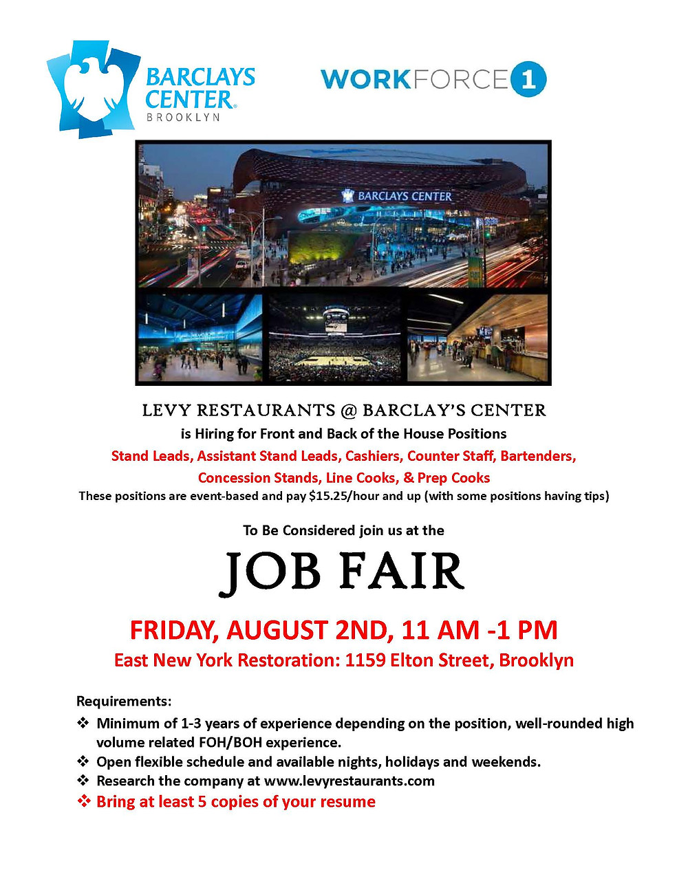 job fair barclays center levy restaurants east new york restoration august 2019