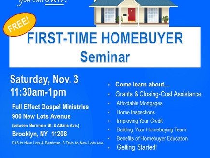 First-Time Homebuyer Seminar Sat. 11/3