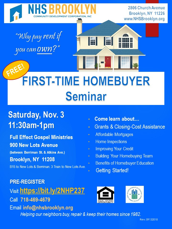 First Time Home Buyer Seminar November 2018 NHS Brooklyn Full Effect Gospel Ministries East New York