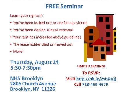 Tenants Rights Seminar Thurs 8/24