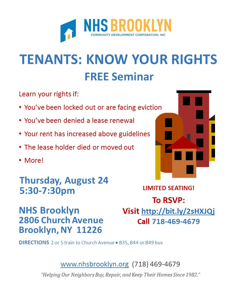 Free Tenants Rights Seminar at NHS Brooklyn