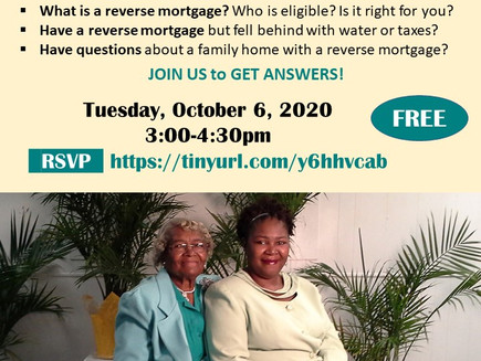 Reverse Mortgage: Ask the Expert  (Webinar 10/6)