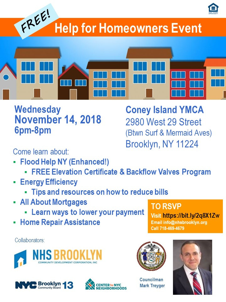 Flyer for Help for Homeowners Event in Coney Island Nov 14 2018