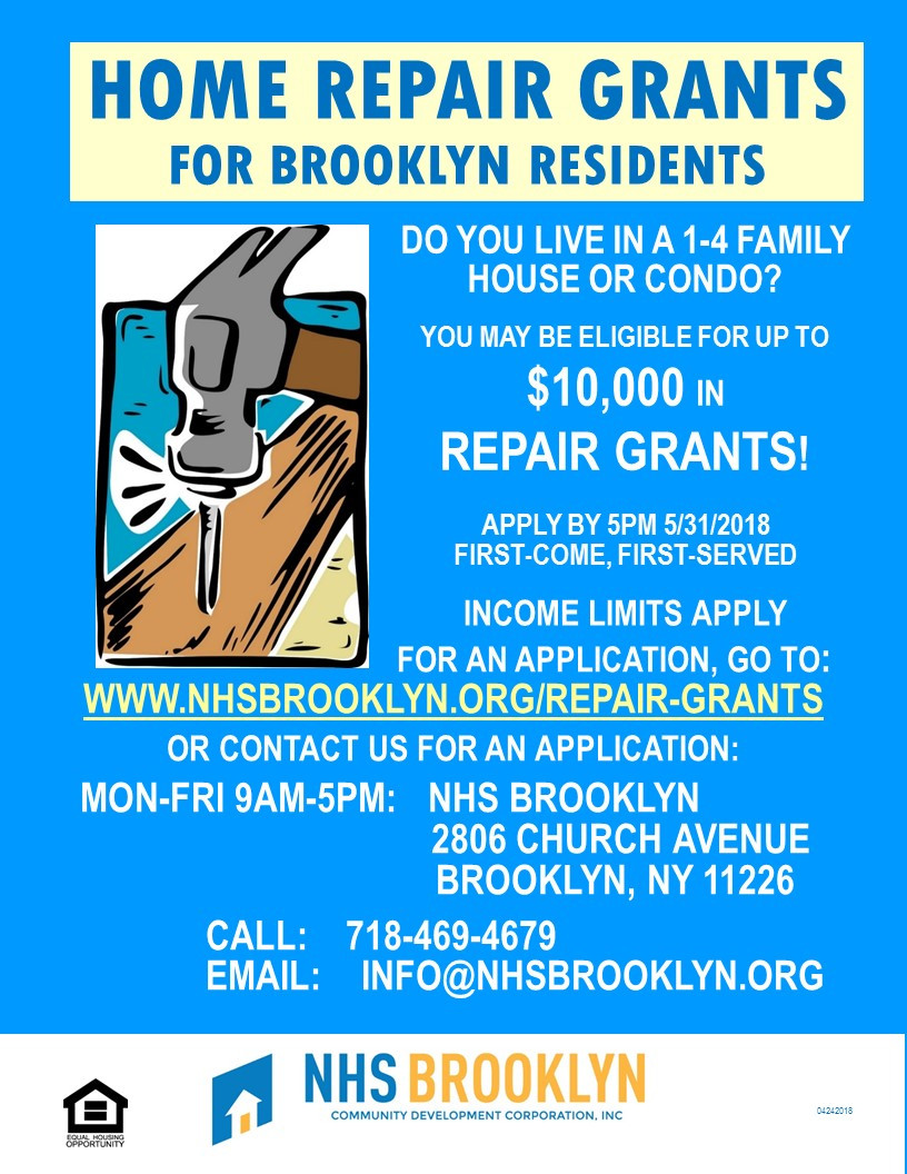 home repair repairs grant project help nhs brooklyn 2018